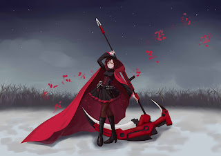 Ruby Rose RWBY Anime Girl Red Cape Death Scythe Black Dress HD Wallpaper Desktop PC Background 1666
