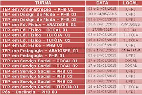 Calendário de aulas do mês de Maio.