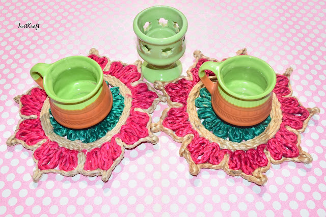 Two coasters, 2 tea cups & Tea Light Candle Holder