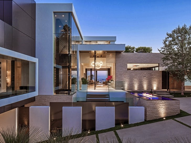 Modern facade details on Perfect modern mansion in Beverly Hills