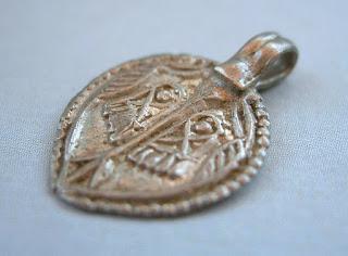 Antique Rajasthan Silver Pendant Vishnupada Sripada