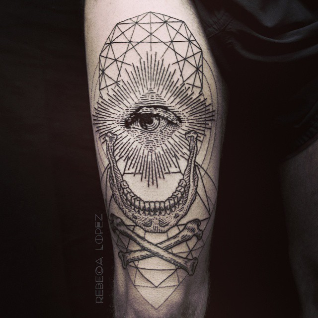 Sacred geometry skull divinity tattoo by Rebeca Lopez