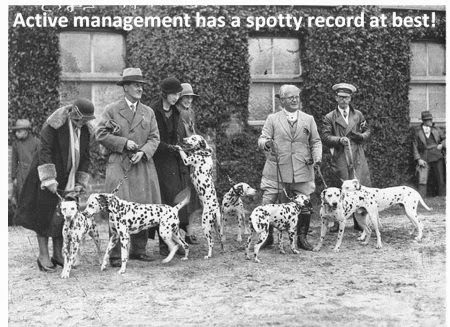 Dalmatians everywhere say active management has a spotty record at best!