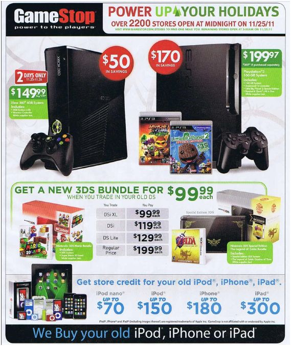 Online Black Friday Games Deals 2011 at Game Stop for PS3, Xbox, 3DS, Wii