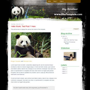 Big Brother Blogger Template. template for animal blog