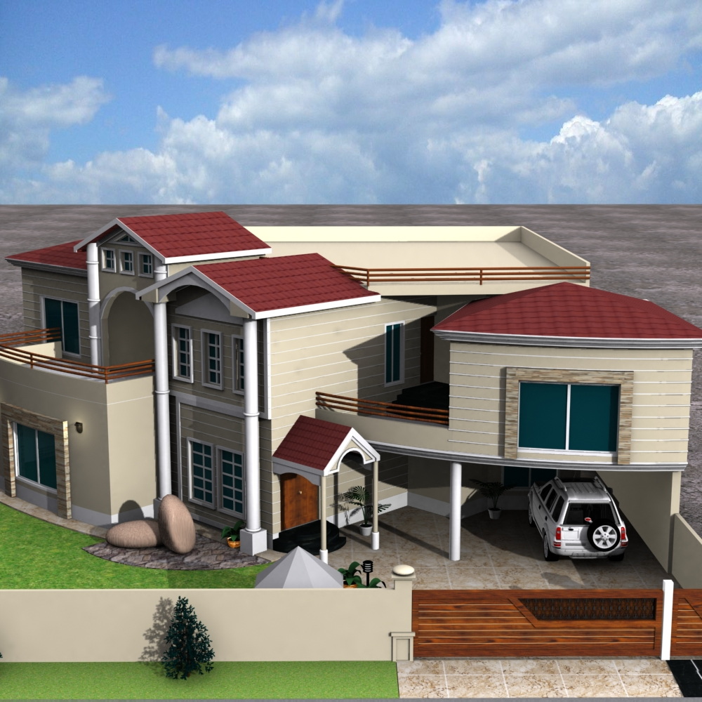 3d Front Elevation Of Residential Building : D front elevation house plan