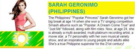 Sarah Geronimo nominated in the Favorite Asian Act category of the 2013 Kids' Choice Awards