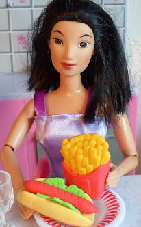 using erasers as food props for barbie