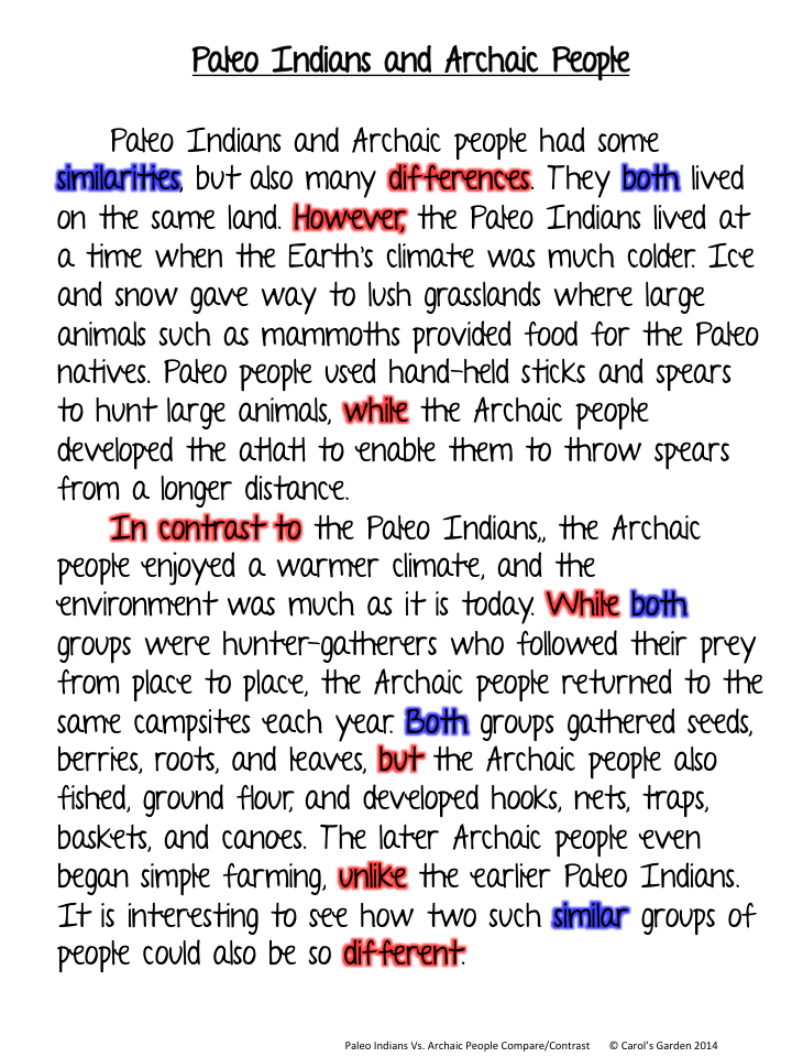 transition words for compare and contrast essays