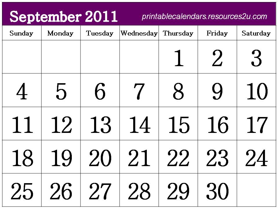 download and print this Free Monthly 2011 Calendar September template