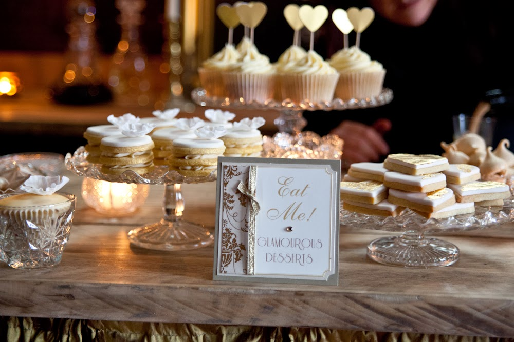 Main eggnog and baileys dessert table for golden glamour styled wedding