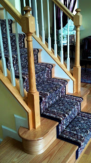 stair estate railing spindle bullnose custom stairway staircase oak natural white