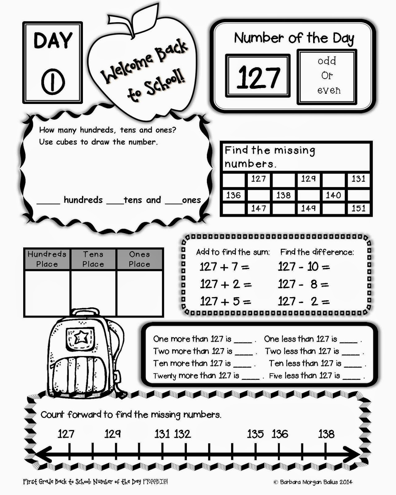 School Worksheets For 2nd Grade : Back to school worksheet grade first day of