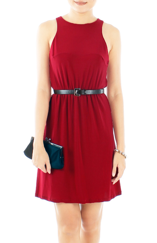Oxford High Neck Dress in Chestnut Red