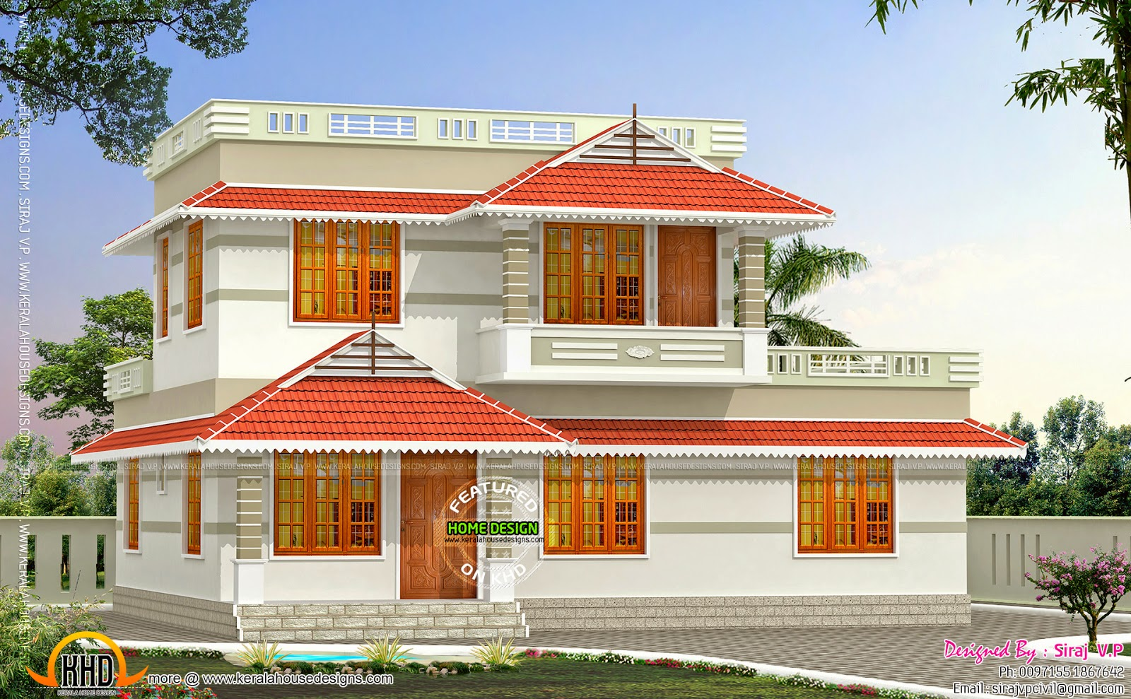 Kerala style low cost double storied home kerala home for Kerala home designs low cost