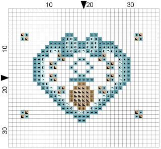 esquema de coração azul para babete