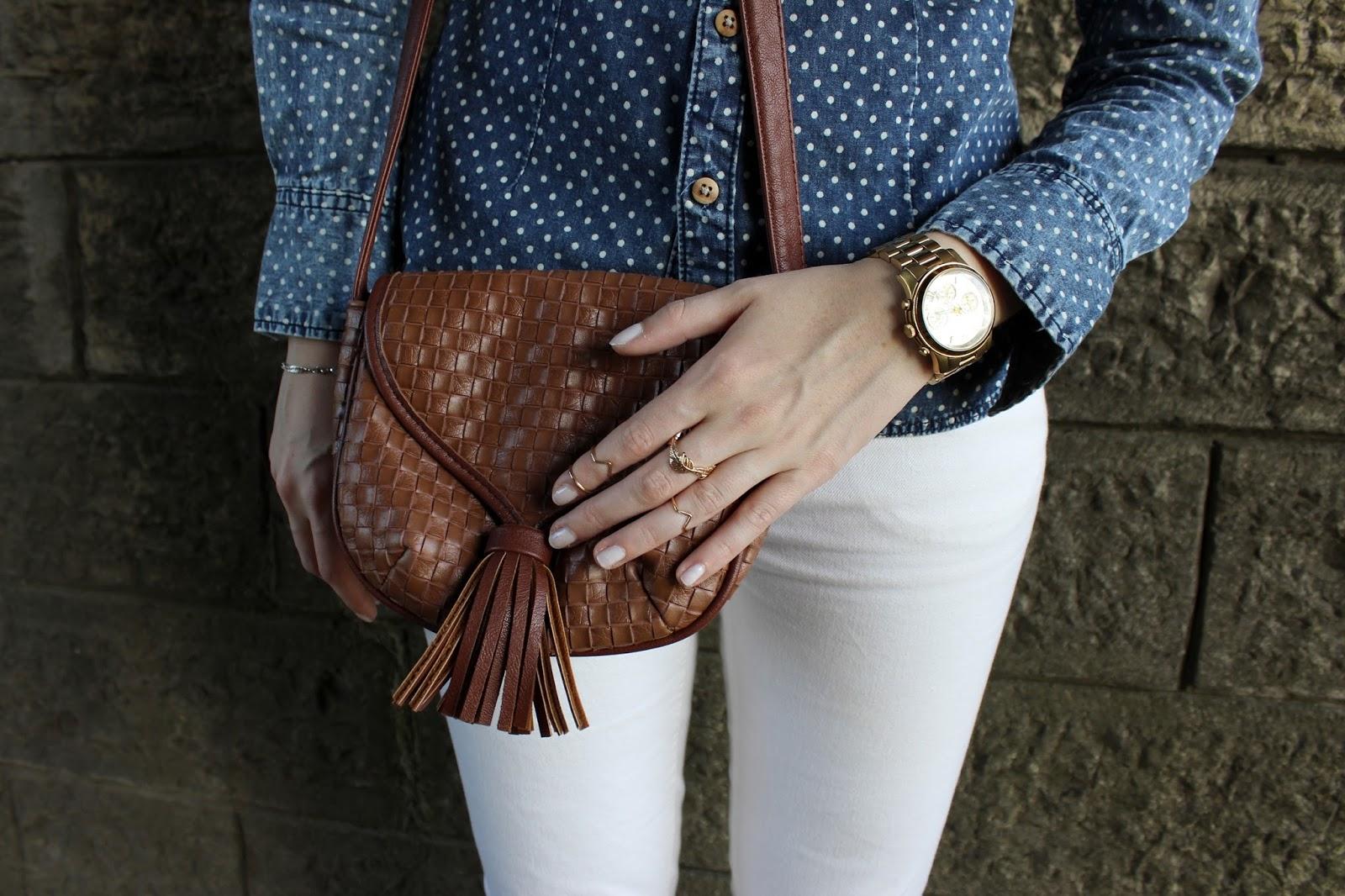 Jeansbluse Denim White Fringes Outfit Fashionblogger TheBlondeLion