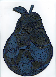 Example of a linocut in Japanese linoleum