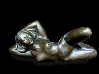 Statue style figuratif Femme nue, sensuelle, couchée sur le côté