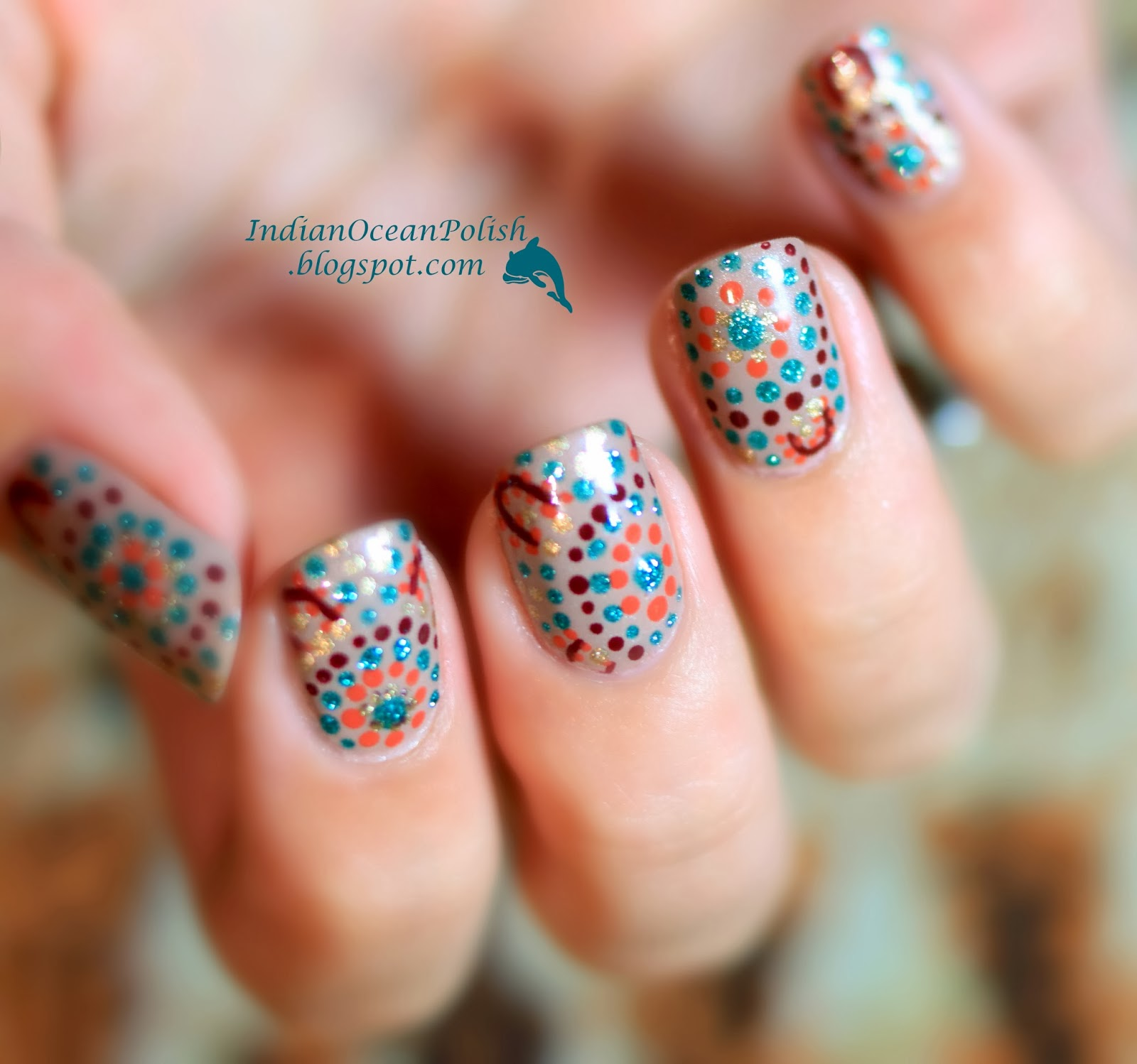 Indian ocean polish october 2013 aboriginal dotted nail art prinsesfo Image collections