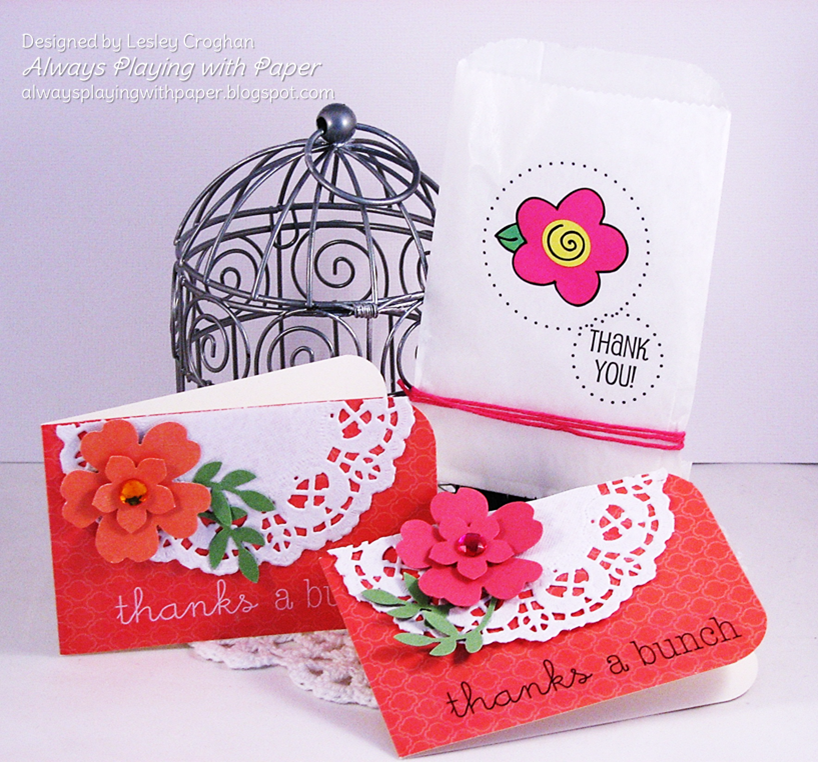 SRM Stickers Blog - Mini Cards Gift Set by Lesley - #mini #cards #gift #glassing #twine #stickers #doilies