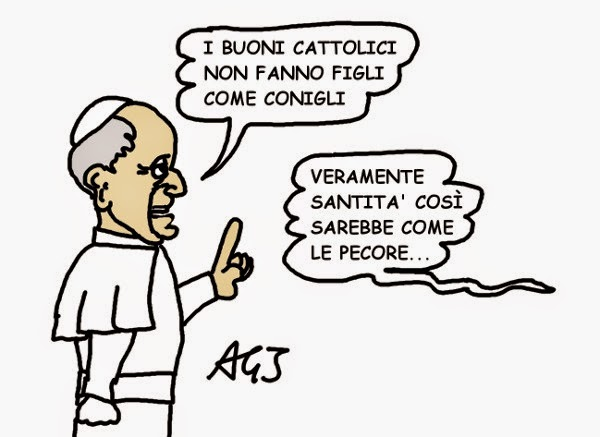papa francesco, figli, paternità responsabile, satira, vignetta