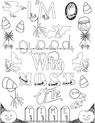 I'm a good witch most of the time adult coloring page quote Stefanie Girard