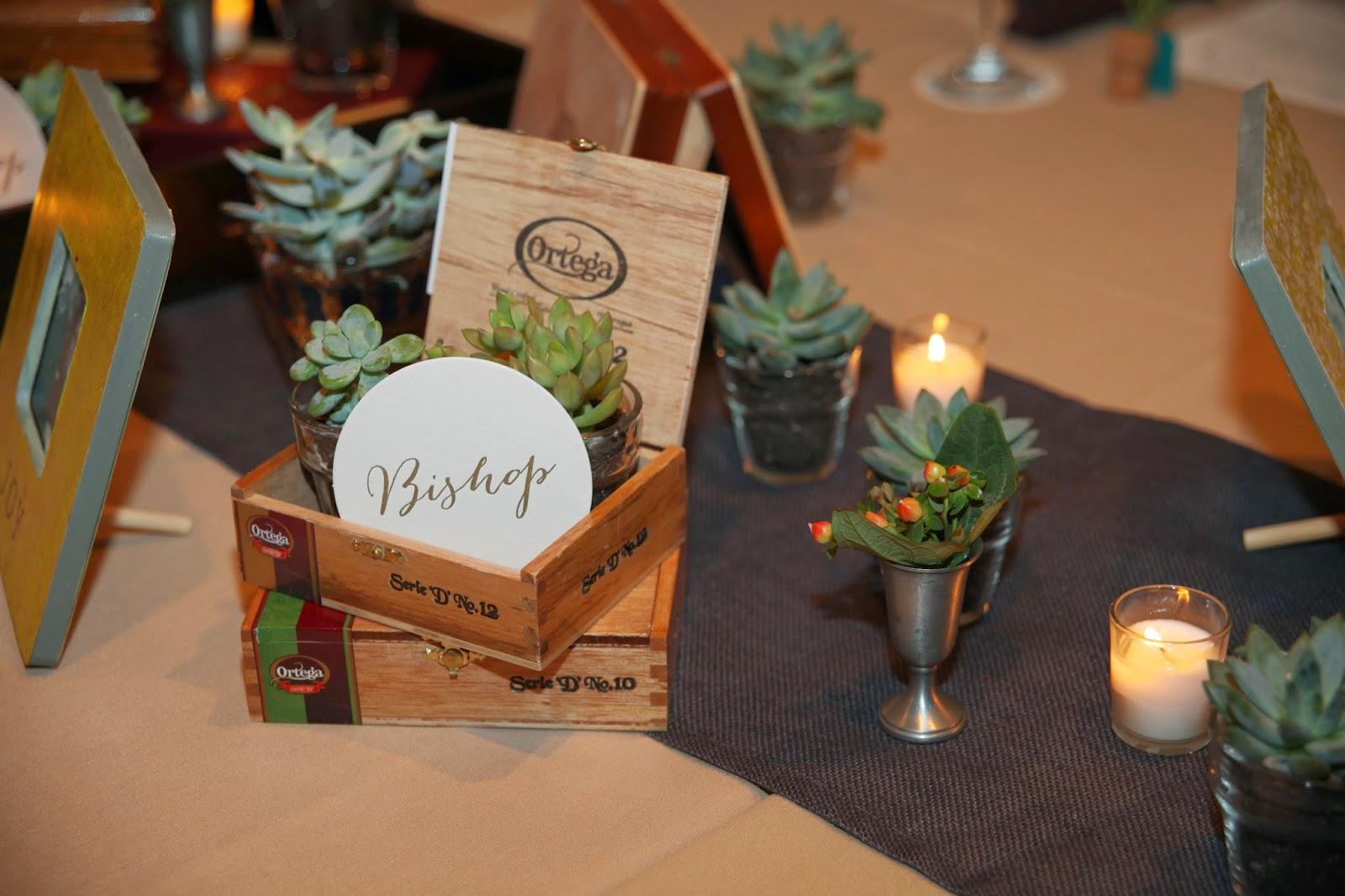 cigar box as wedding reception table decorations