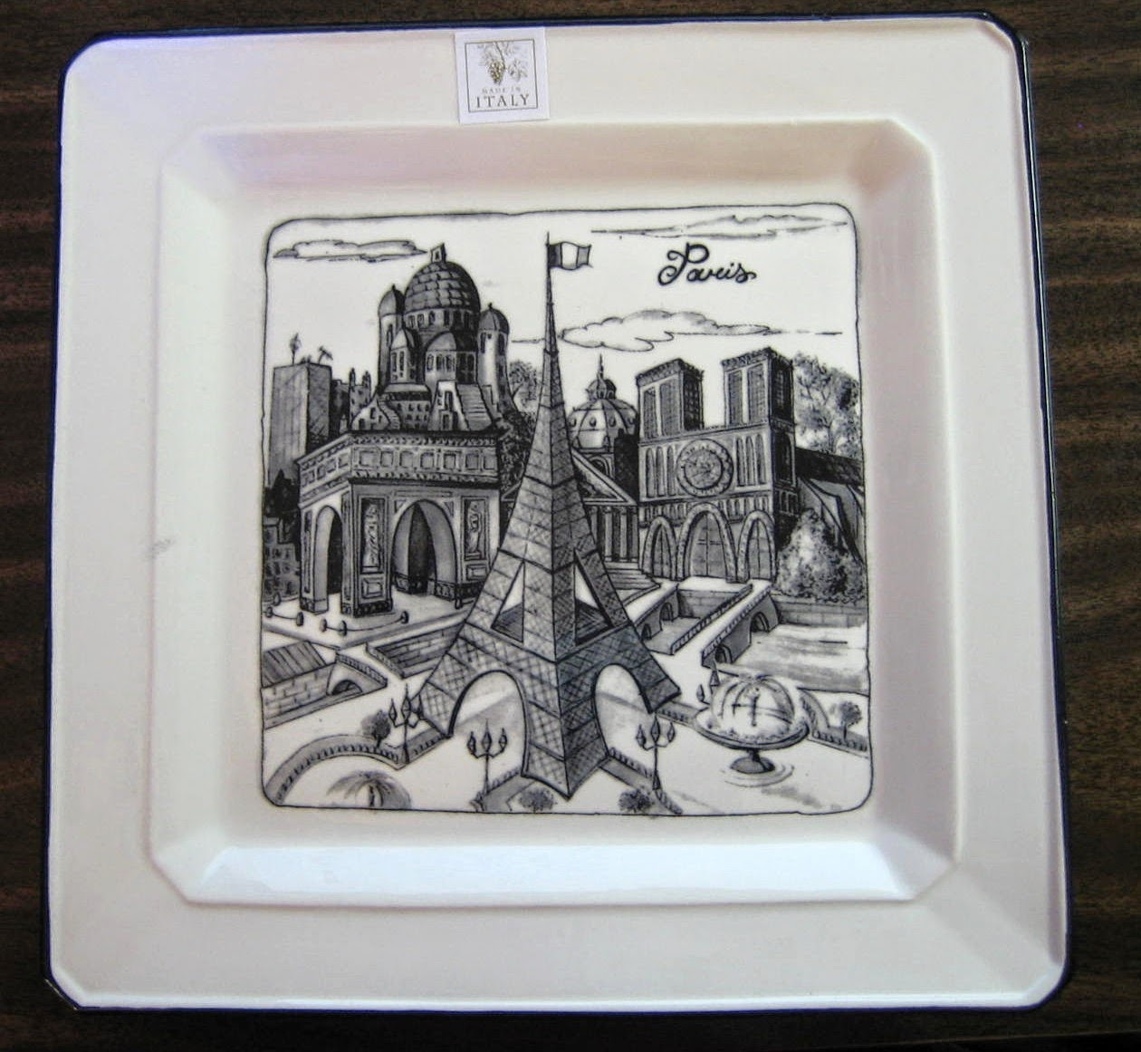 Paris Drawn Decorative Plate.