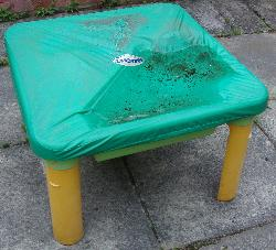 A sand-table with a wet cover.