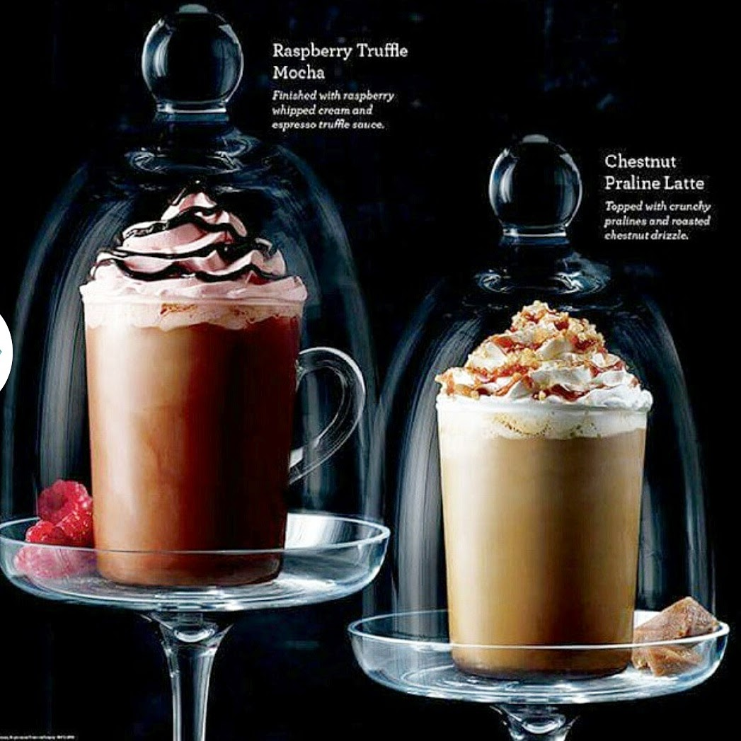 Starbucks Chestnut Praline Latte and Raspberry Truffle Mocha
