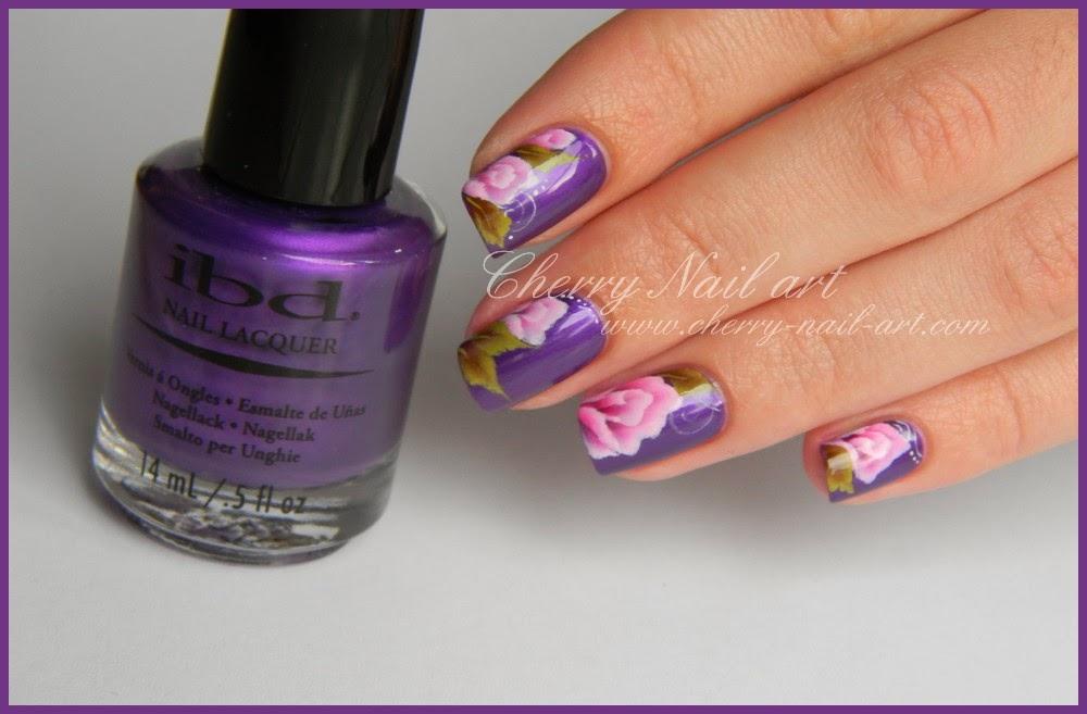 nail art fleur rose et feuille one stroke