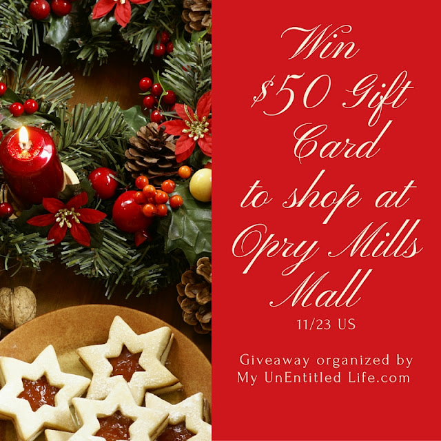 Win a $50 gift card to Opry Mills Mall in Nashville, TN.