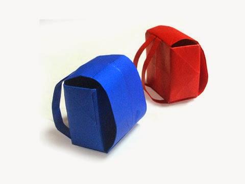 Cách gấp, xếp cái cặp sách bằng giấy origami - Video hướng dẫn xếp hình đồ thời trang - How to fold a School bag