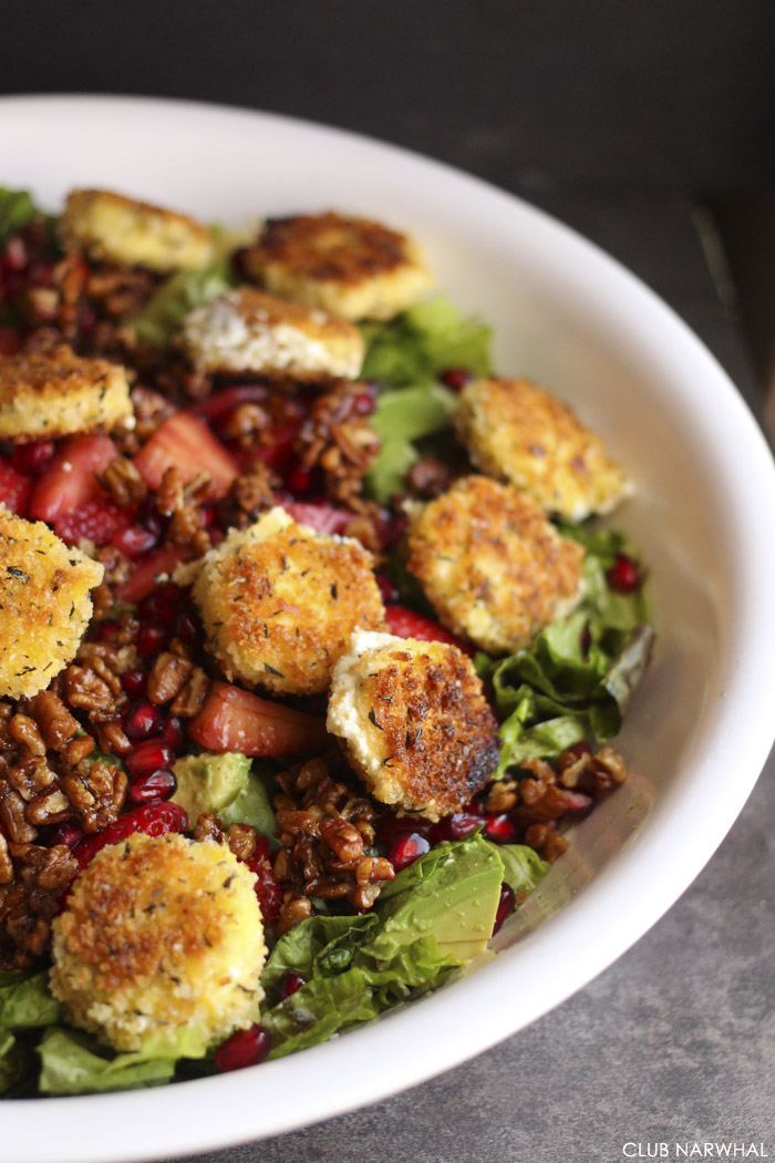 Pan Fried Goat Cheese Salad with Poppy Seed Dressing