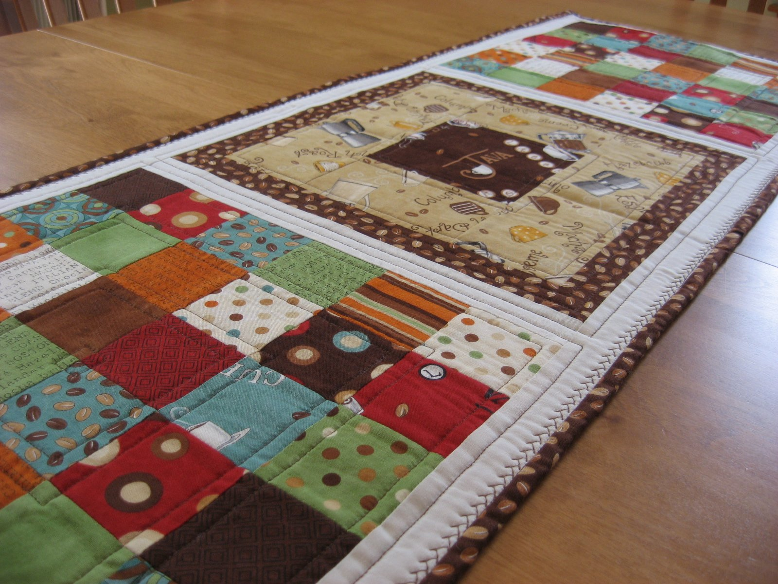 Hooked on Needles Java Table Runner Colorful Coffee Quilt for