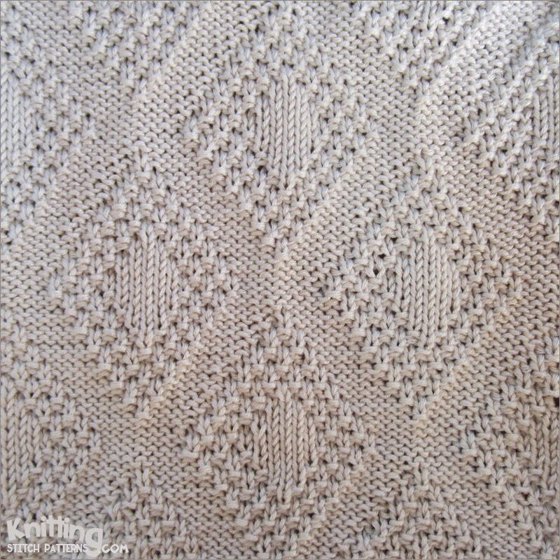 Knitting Pictures Stitches : Moss bordered diamonds knitting stitch patterns