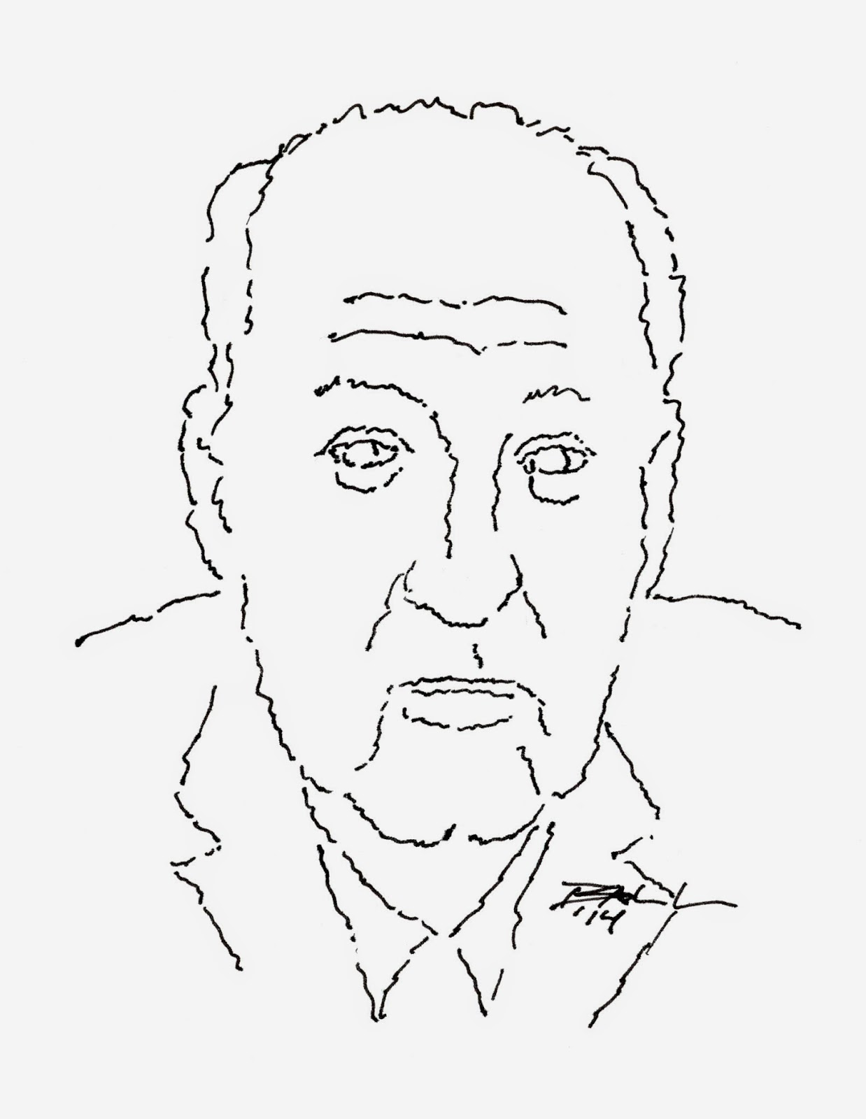 Pen and ink drawing of Vladimir Nabokov