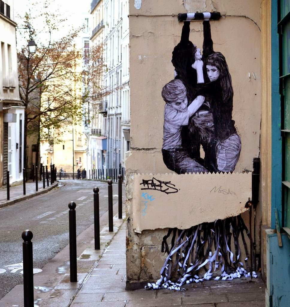 Levalet is back on the streets of his hometown, Paris in France where he just unveiled a new piece in the second district of the city.
