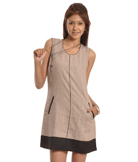 Martini Beige Linen Short Dress