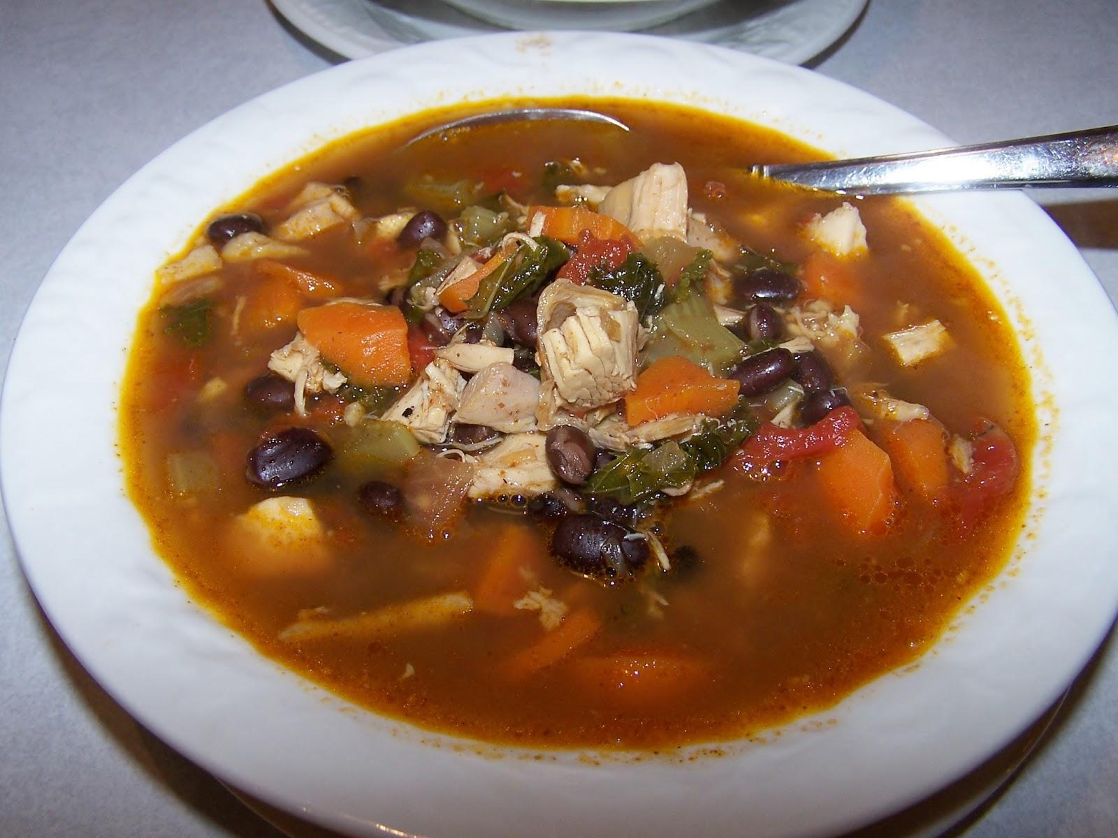 Chicken  Kale Tortilla Soup in the Crockpot, gluten freeSkinny
