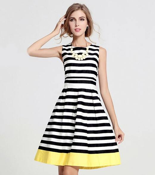 Striped Dress,Necklace,  | women Fashion
