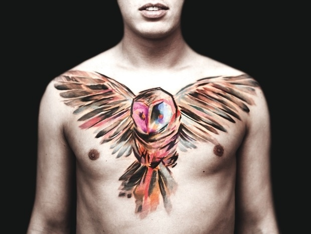 Love This Watercolor Owl Tattoo And The Placement Of It Over His Chest