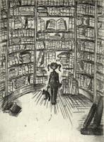 Franziska Deregoski: Marie im Bücherturm, Strichätzung, 2012