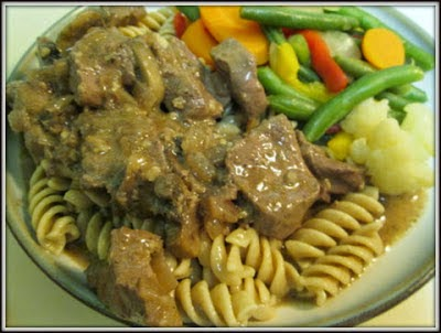 Beef with Gravy and Buttered Noodles