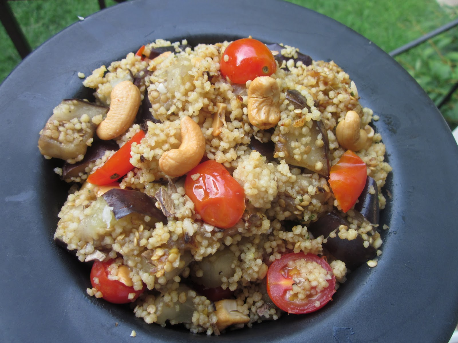 Dinner was wild mushroom couscous tossed with sauteed eggplant, grape ...