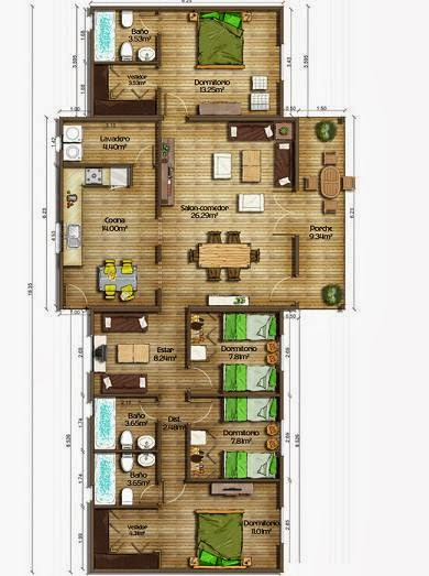 Planos de casas plano 4 dormitorios 134 m2 - Planos de casas 4 dormitorios ...