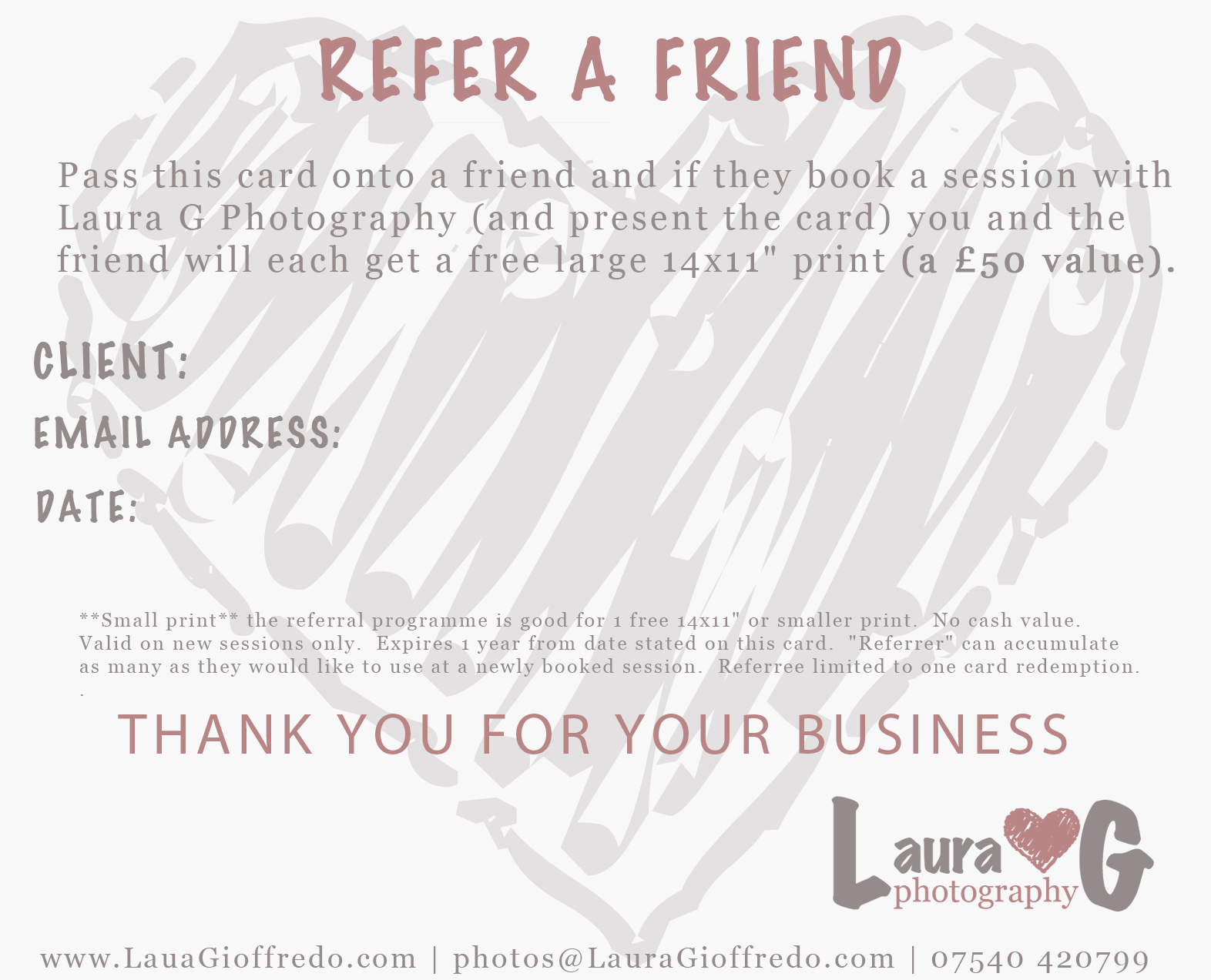 Laura G Photography: Referral Programme
