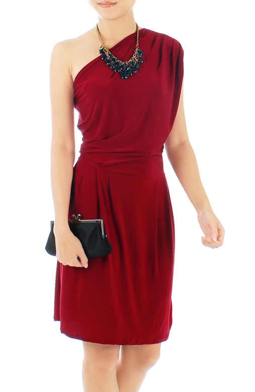 Devotion One-shoulder Dress in Cardinal Red