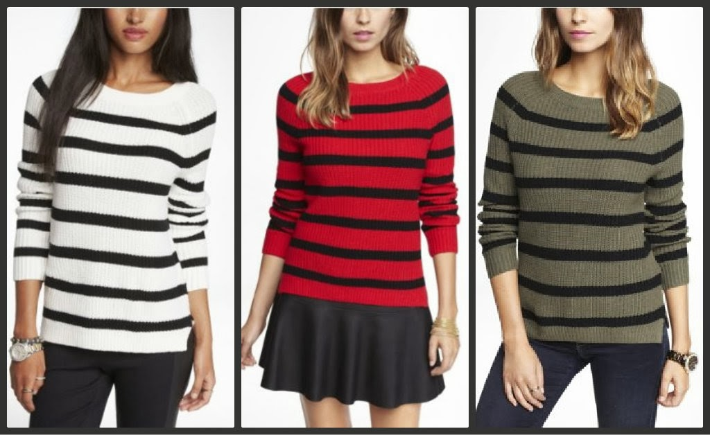 Express striped side slit shaker knit sweater, stripe, stripes, olive, black, white, red